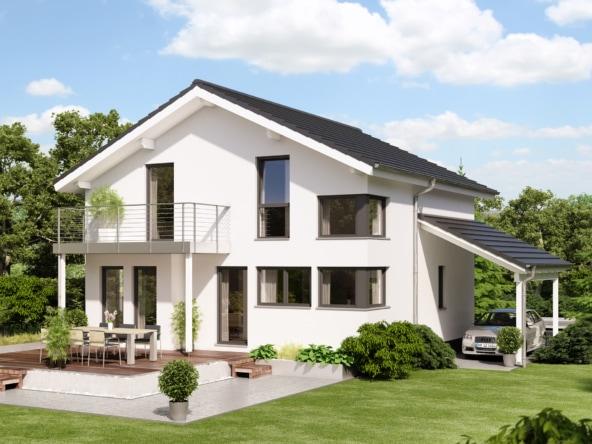 Modernes Satteldach Haus mit Balkon & Carport Garage - Einfamilienhaus bauen Ideen Bien Zenker Fertighaus EVOLUTION 136 V5 - HausbauDirekt.de