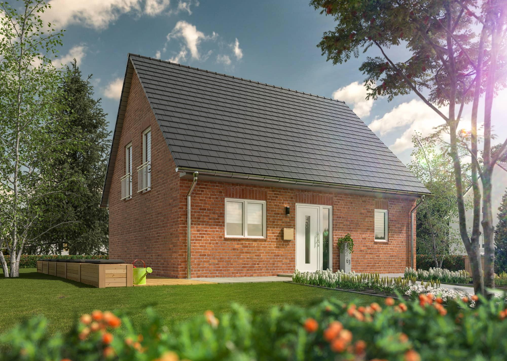 Einfamilienhaus Neubau klassisch mit Klinker Fassade & Satteldach, 6 Zimmer, 130 qm - Massivhaus bauen Ideen Town Country Haus FLAIR 134 - HausbauDirekt.de