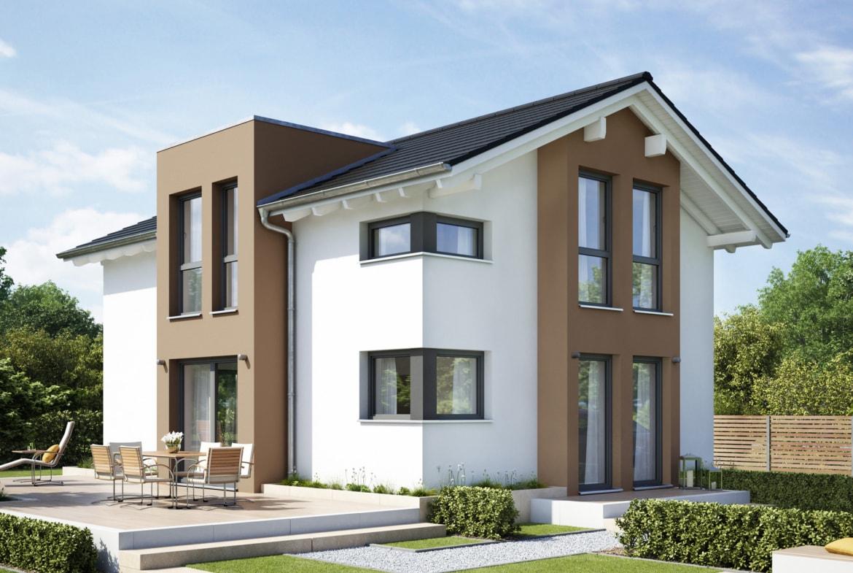 Modernes Satteldach Haus mit Flachdachgiebel & zweigeschossigem Erker - Einfamilienhaus bauen Ideen Fertighaus EVOLUTION 122 V6 von Bien Zenker - HausbauDirekt.de