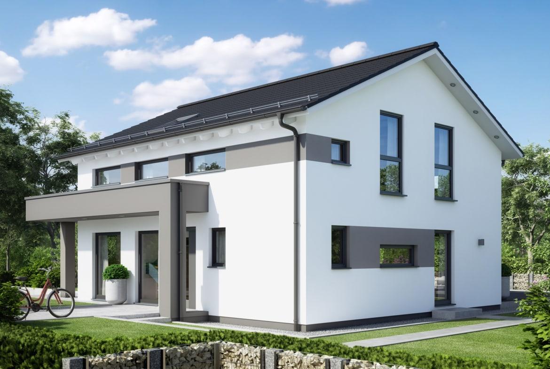 Fertighaus modern mit Satteldach, Erker & Balkon, 5 Zimmer Grundriss, 165 qm - Einfamilienhaus Neubau SUNSHINE 165 V4 von Living Haus - HausbauDirekt.de