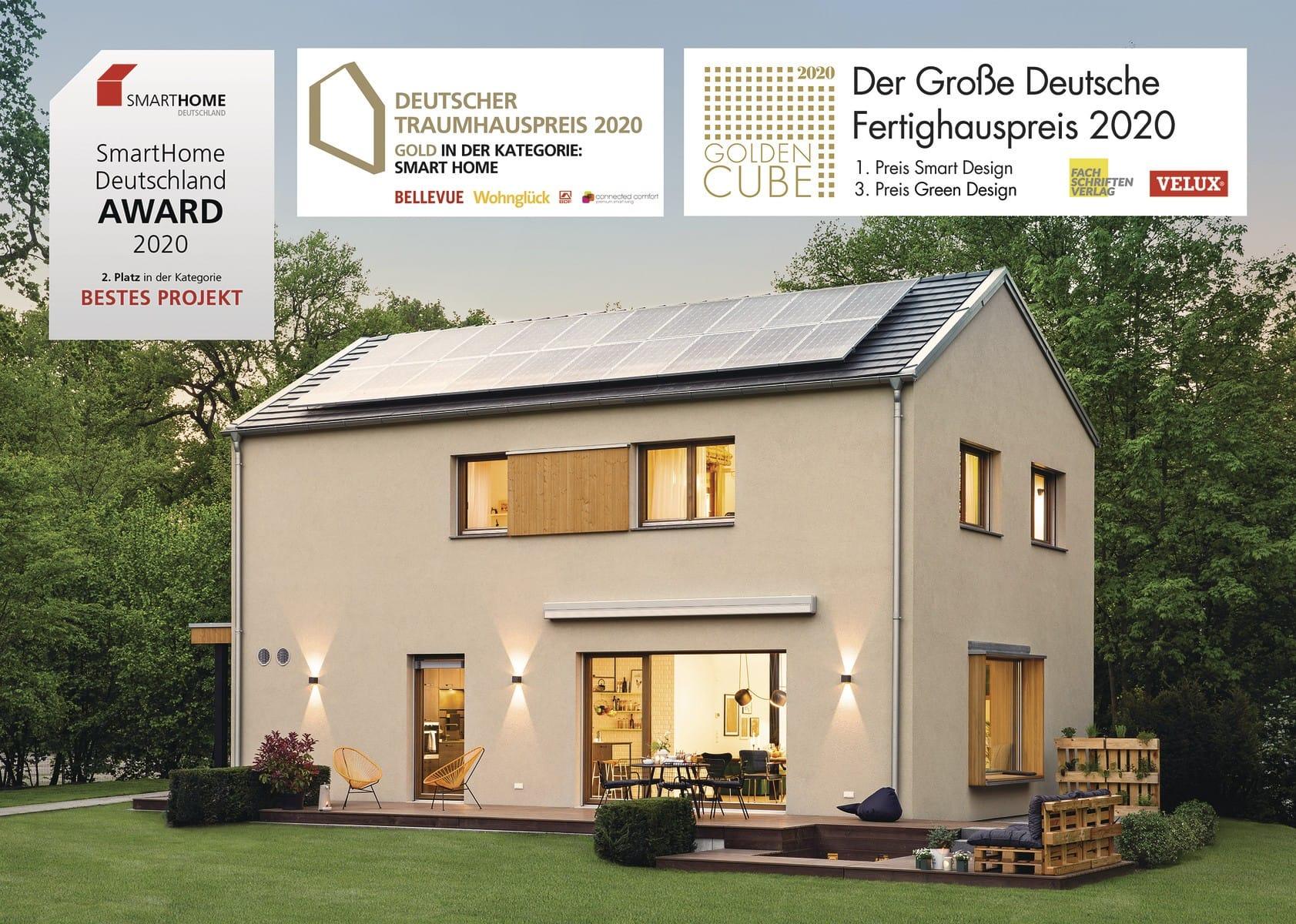 Einfamilienhaus modern mit Satteldach ohne Dachüberstand bauen - Haus Design Ideen Fertighaus Sunshine 220 WeberHaus - HausbauDirekt.de
