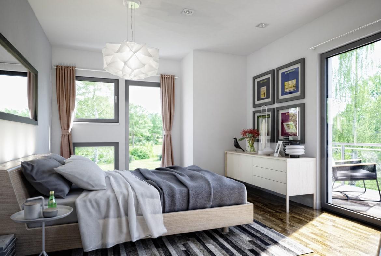 Schlafzimmer Einrichtung modern - Ideen Fertighaus Stadtvilla Living Haus SUNSHINE 126 V8 - HausbauDirekt.de