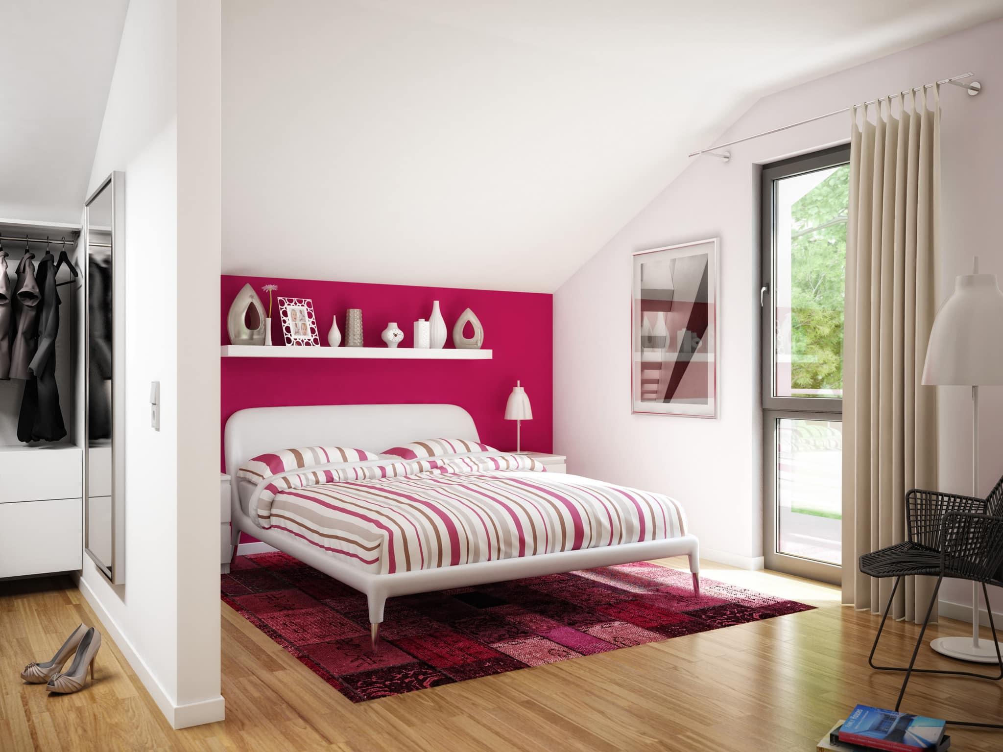 Schlafzimmer modern mit Dachschräge - Inneneinrichtung Haus Ideen Bien Zenker Fertighaus EVOLUTION 139 V3 - HausbauDirekt.de