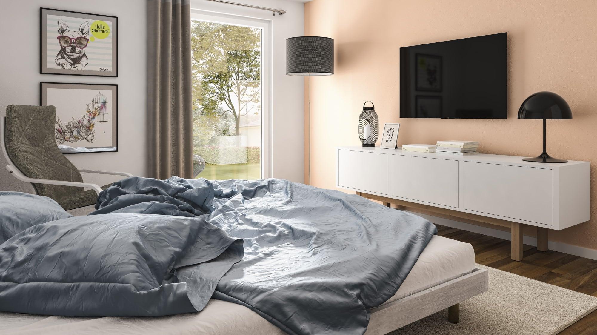 Schlafzimmer mit TV Wand - Haus Design Ideen innen Town Country Haus Bungalow 131 - HausbauDirekt.de