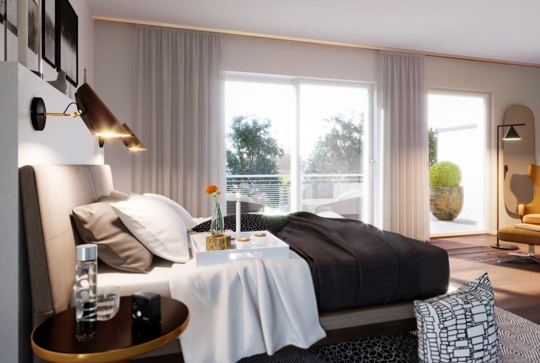 Schlafzimmer Ideen - Inneneinrichtung Doppelhaus Fertighaus Bien Zenker CELEBRATION 122 V4 L - HausbauDirekt.de