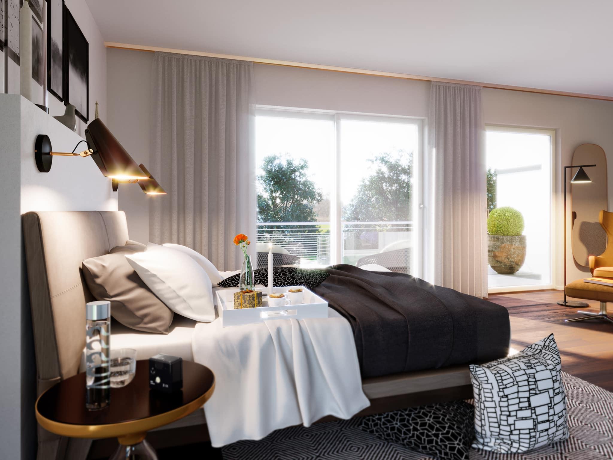 Schlafzimmer Ideen modern - Doppelhaus innen Fertighaus Bien Zenker CELEBRATION 122 V5 XL - HausbauDirekt.de