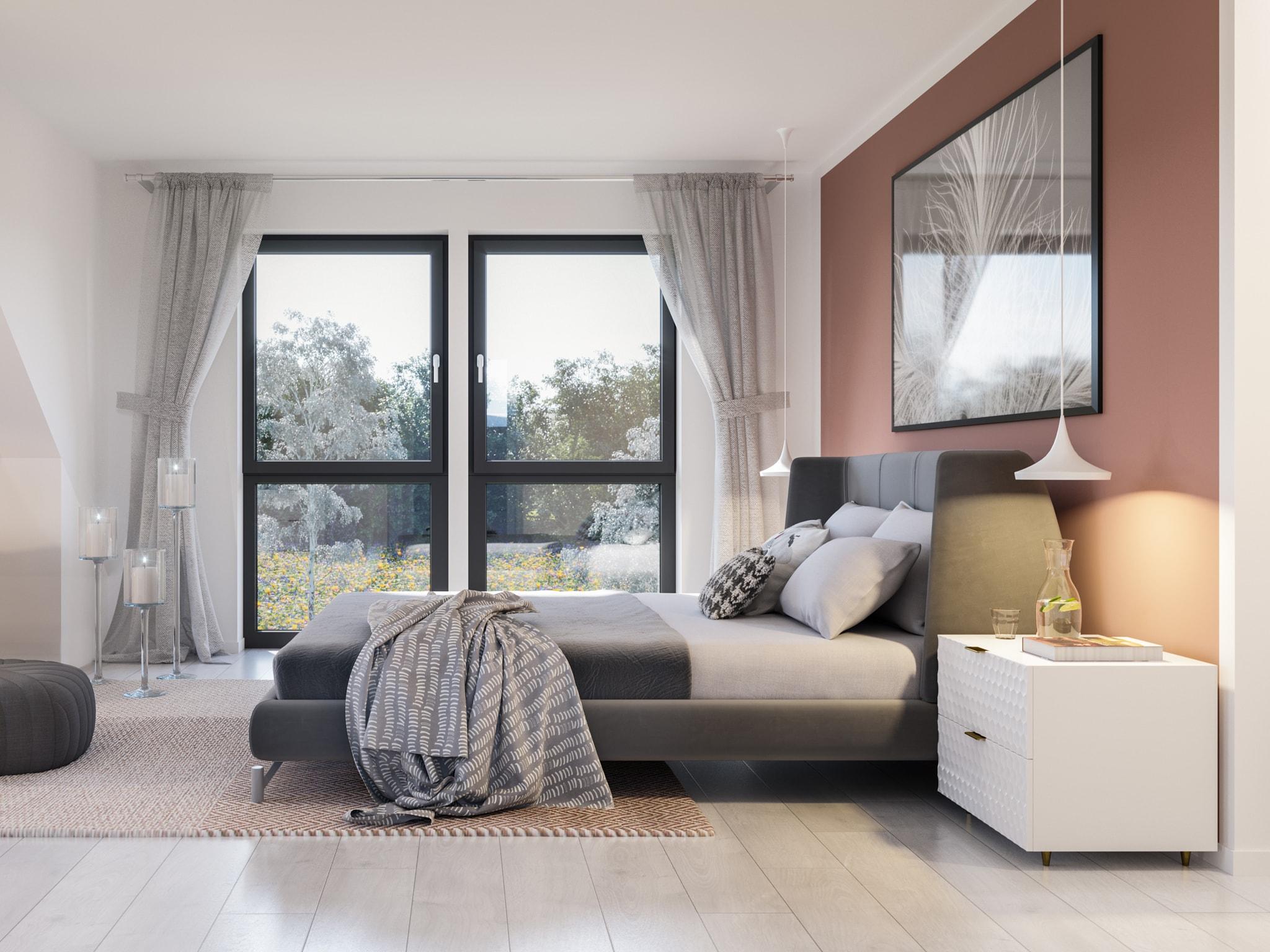 Schlafzimmer Ideen - Doppelhaus innen Fertighaus Bien Zenker CELEBRATION 139 V5 - HausbauDirekt.de