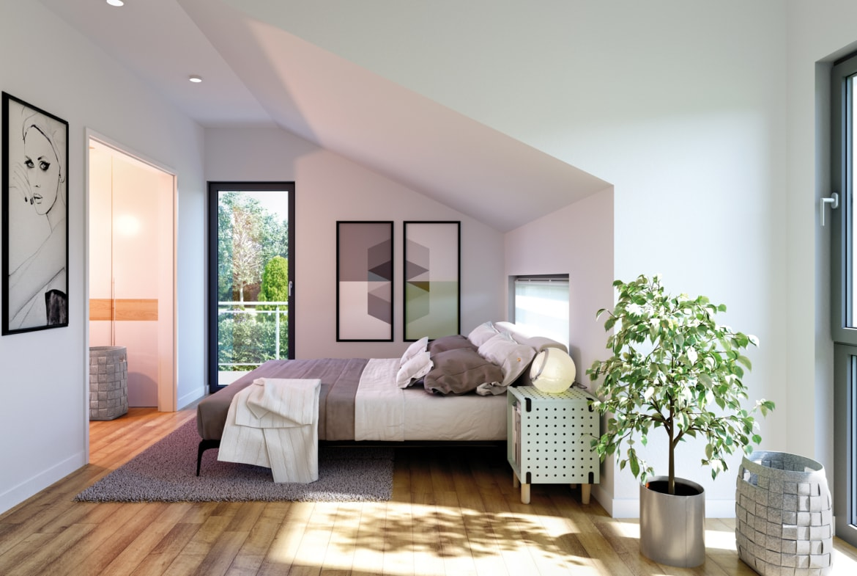 Schlafzimmer modern mit Dachschräge - Ideen Einrichtung Fertighaus SOLUTION 230 V2 von Living Haus - HausbauDirekt.de