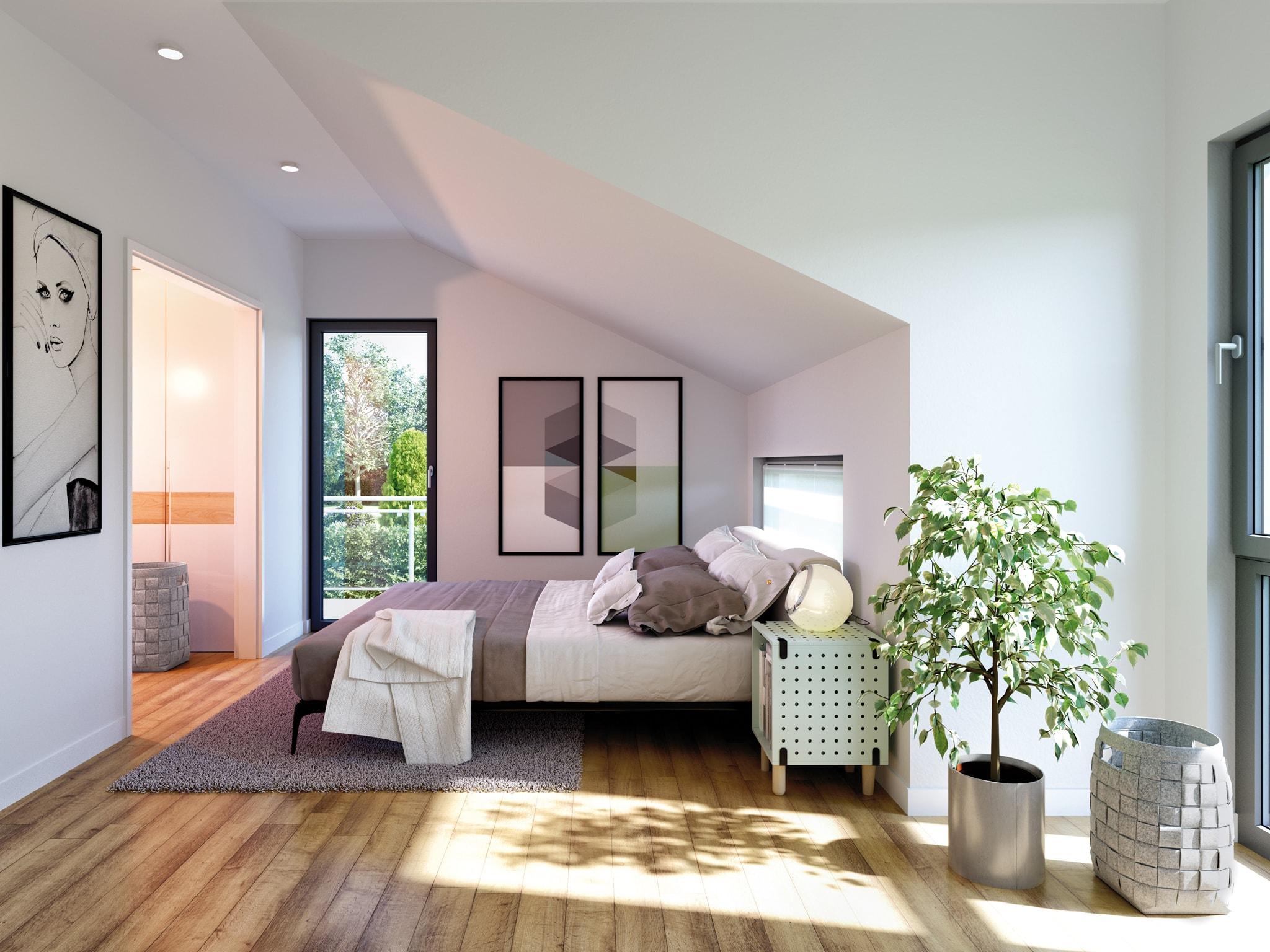 Schlafzimmer mit Dachschräge einrichten - Inneneinrichtung Ideen Fertighaus Innen Living Haus SOLUTION 230 V5 - HausbauDirekt.de