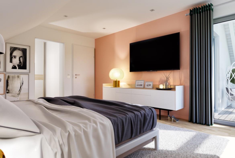 Schlafzimmer mit Dachschräge - Einfamilienhaus Ideen Inneneinrichtung Fertighaus Living Haus SUNSHINE 143 V2 - HausbauDirekt.de