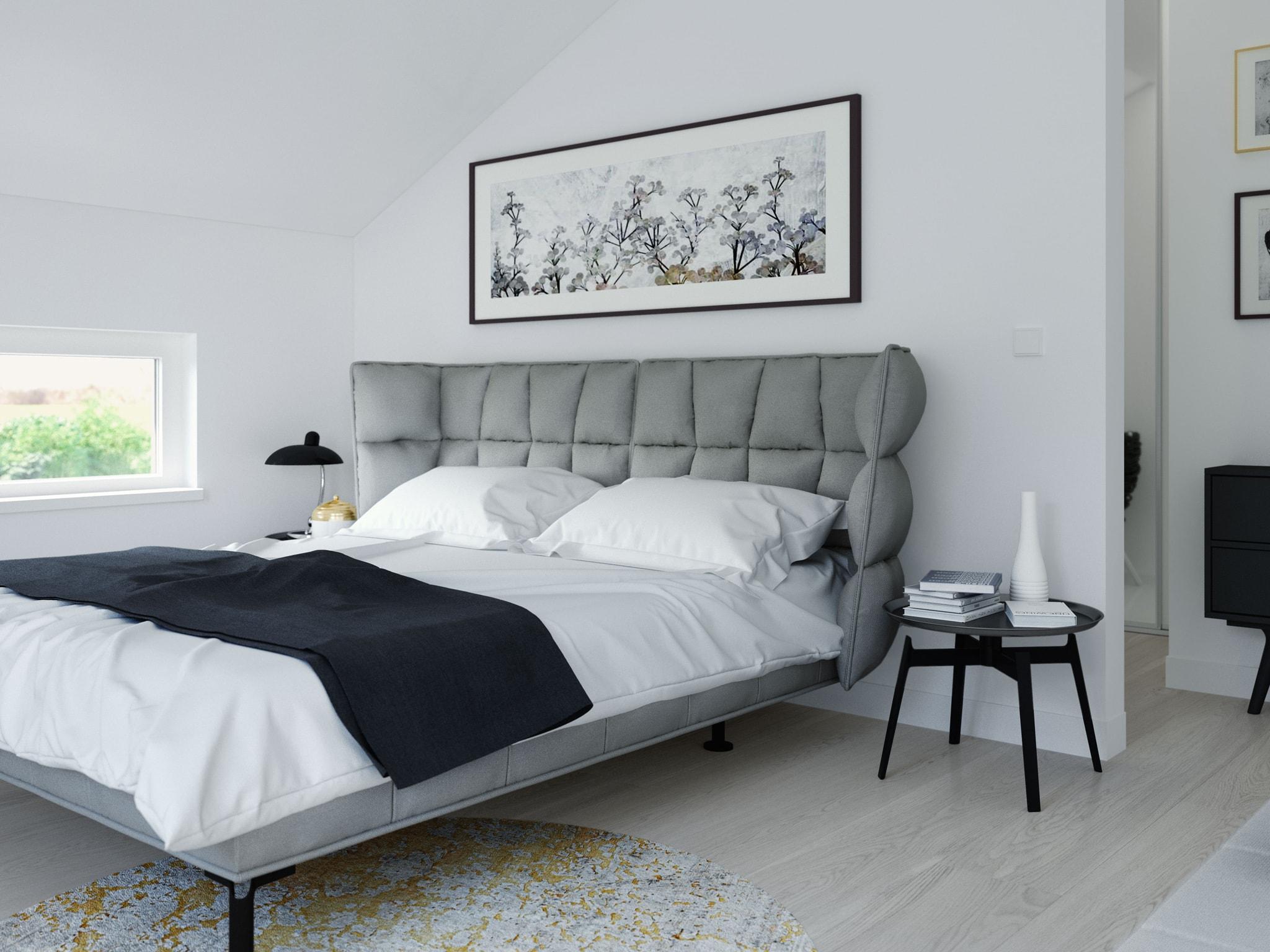 Schlafzimmer Farbe grau weiß schwarz - Ideen Inneneinrichtung Fertighaus Living Haus SUNSHINE 144 V3 - HausbauDirekt.de