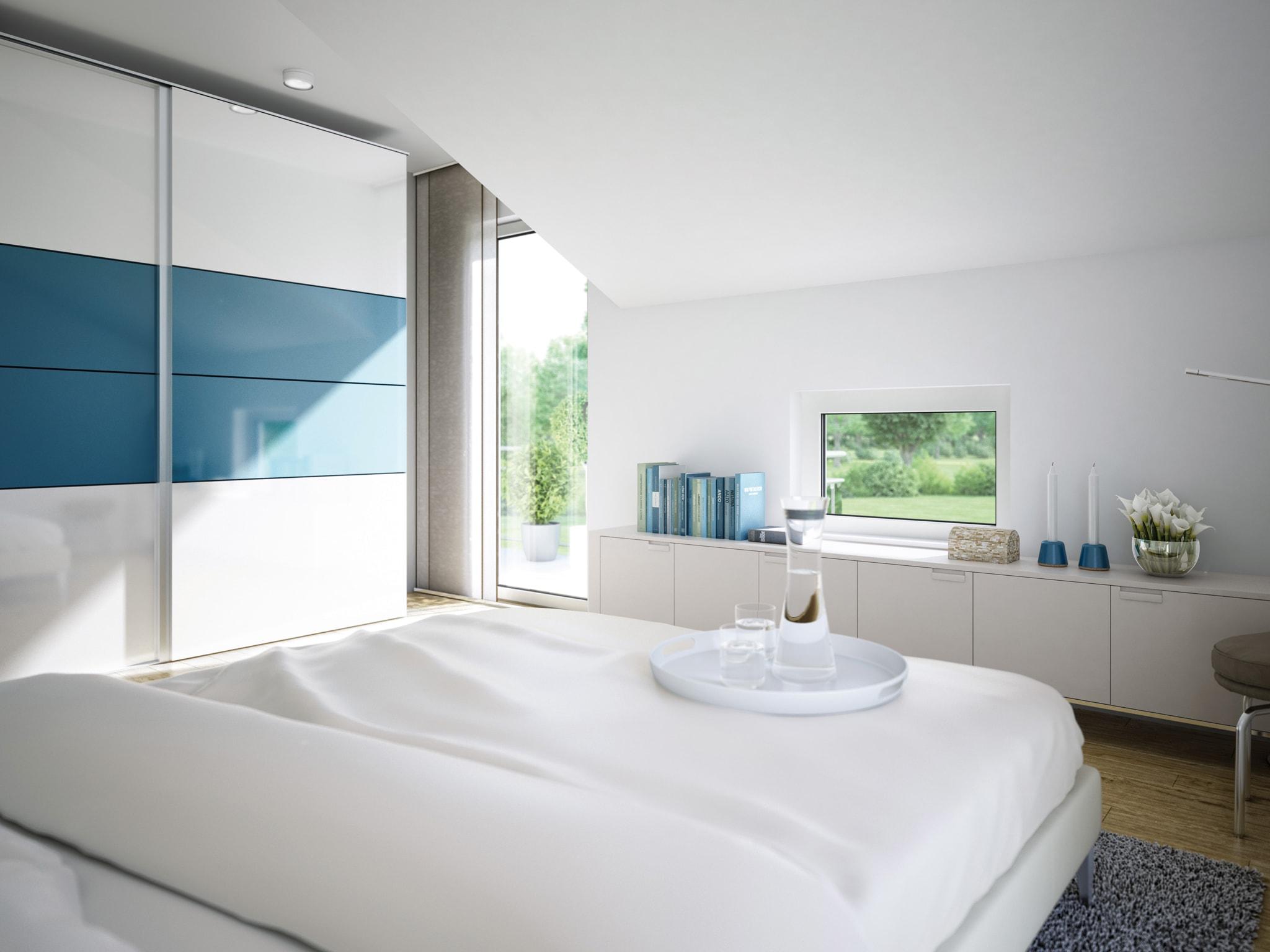 Schlafzimmer modern in blau weiß mit Dachschräge - Inneneinrichtung Ideen Fertighaus Living Haus SUNSHINE 151 V4 - HausbauDirekt.de