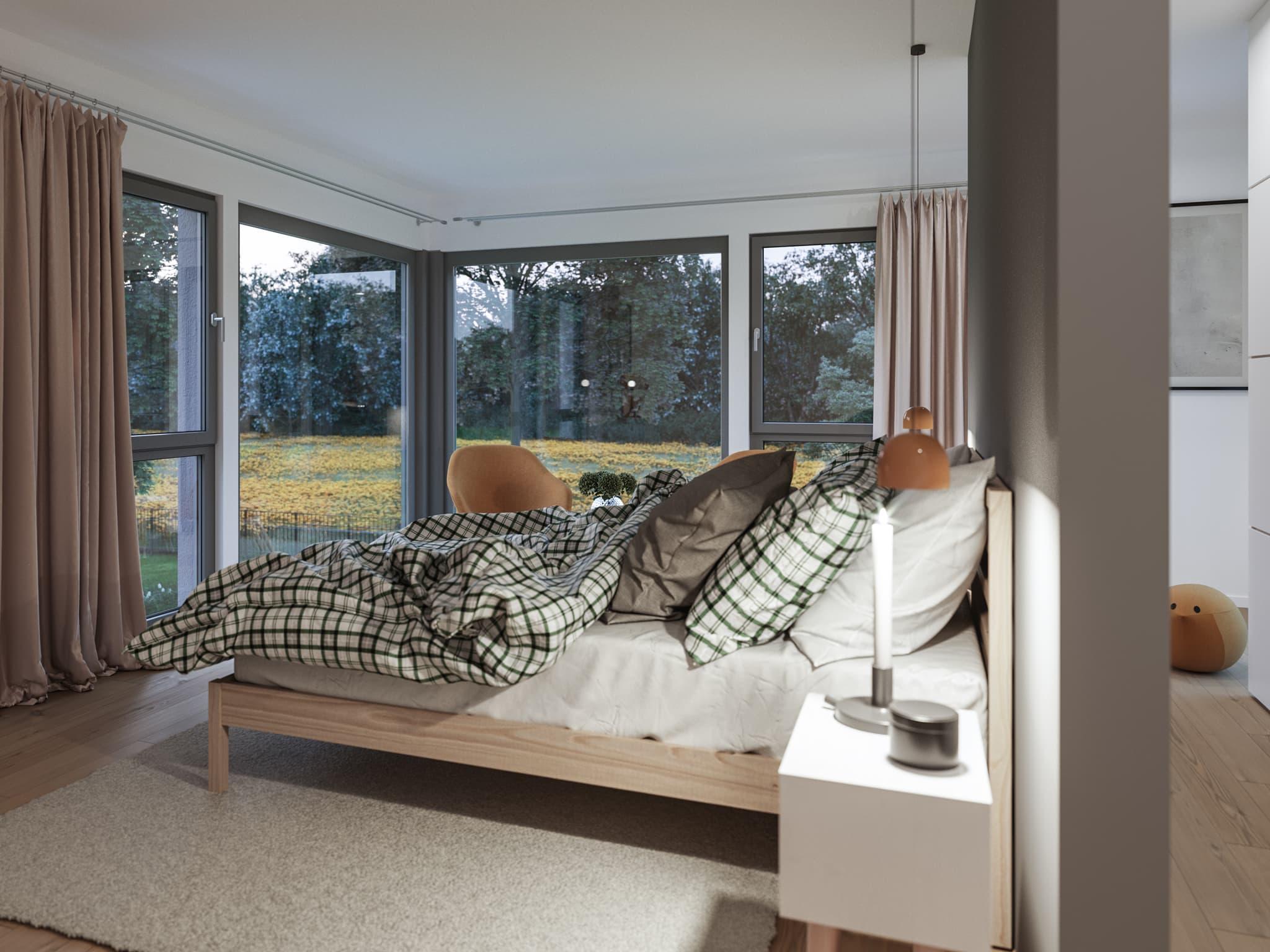 Schlafzimmer modern beige - Ideen Inneneinrichtung Fertighaus Living Haus SUNSHINE 154 V2 - HausbauDirekt.de