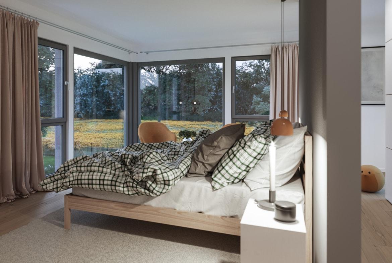 Schlafzimmer Ideen - Inneneinrichtung Fertighaus Living Haus SUNSHINE 154 V3 - HausbauDirekt.de