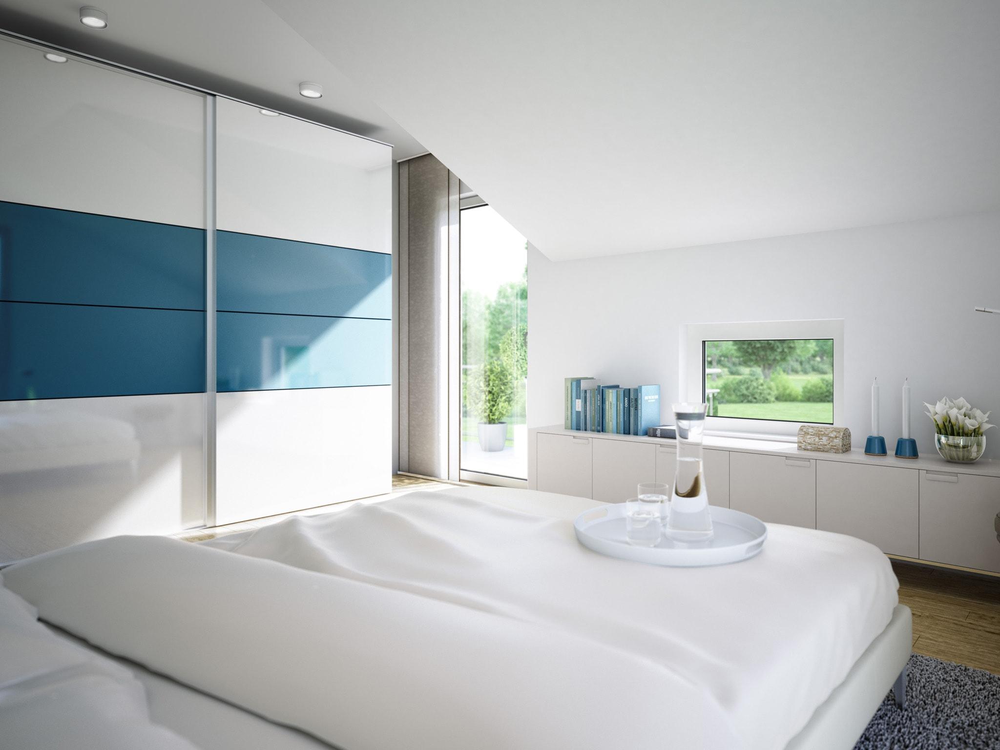 Modernes Schlafzimmer mit Dachschräge - Wohnideen Inneneinrichtung Einfamilienhaus SUNSHINE 125 V3 von Living Haus - HausbauDirekt.de