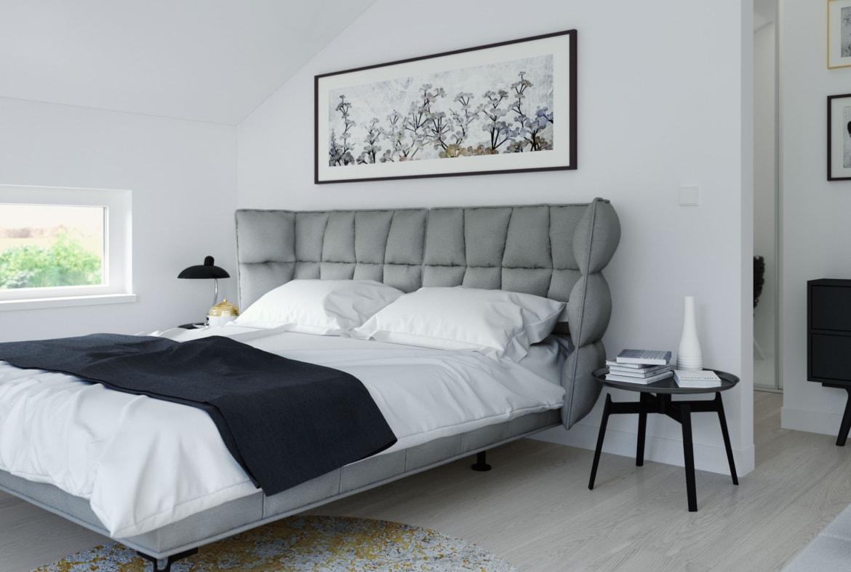 Schlafzimmer modern mit Dachschräge - Ideen Inneneinrichtung Fertighaus SUNSHINE 144 V5 Living Haus - HausbauDirekt.de
