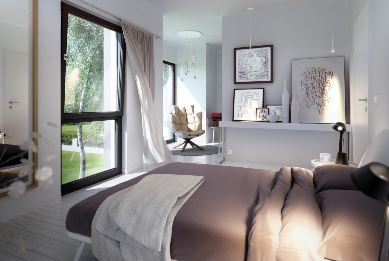 Schlafzimmer Ideen modern weiss grau beige - Inneneinrichtung Wohnideen Fertighaus Stadtvilla SUNSHINE 113 V8 von Living Haus - HausbauDirekt.de