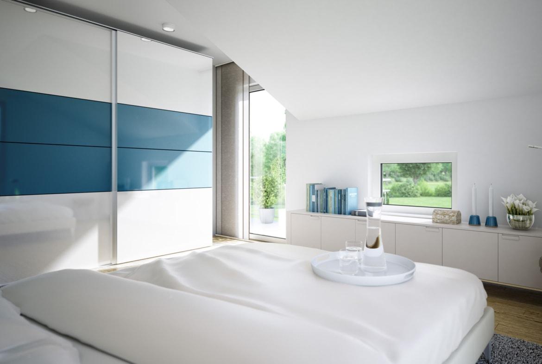 Schlafzimmer Ideen modern mit Dachschräge - Wohnideen Fertighaus innen SUNSHINE 125 V4 von Living Haus - HausbauDirekt.de