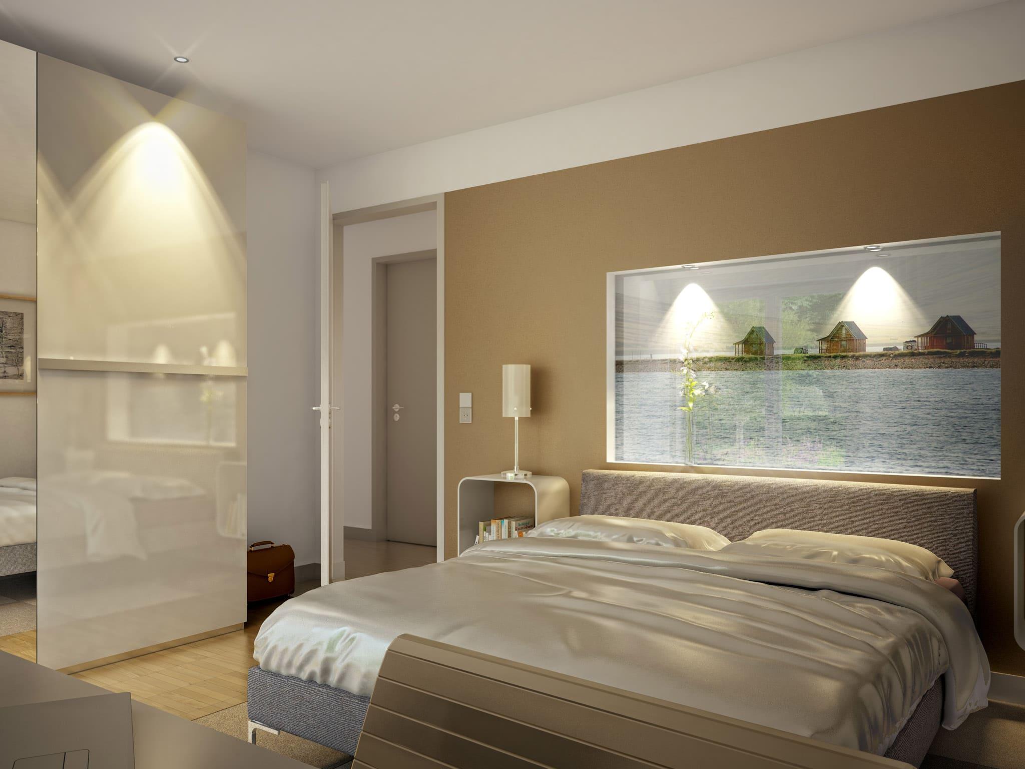 Schlafzimmer mit Wandfarbe beige - Ideen Inneneinrichtung Fertighaus Bungalow AMBIENCE 111 V4 von Bien Zenker - HausbauDirekt.de