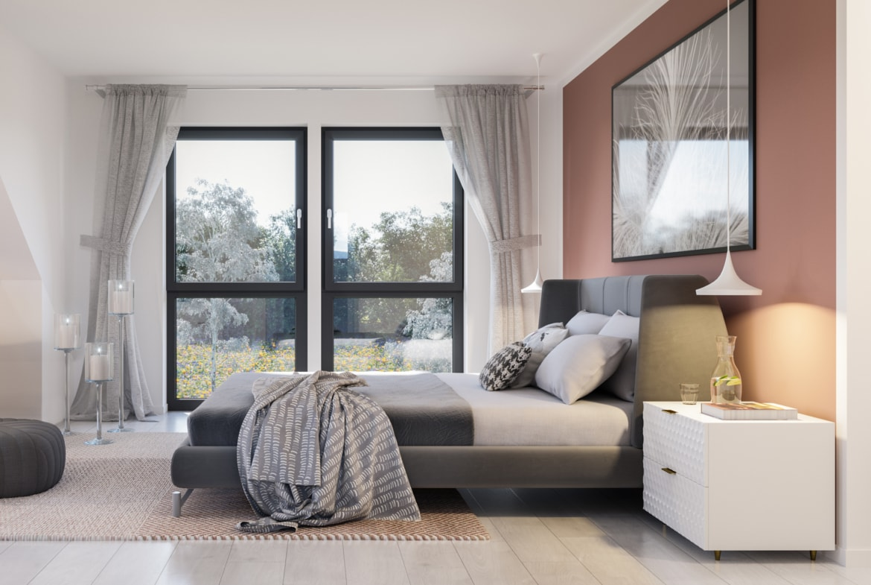 Schlafzimmer modern einrichten - Ideen Inneneinrichtung Doppelhaus Fertighaus Bien-Zenker CELEBRATION 139 V6 - HausbauDirekt.de
