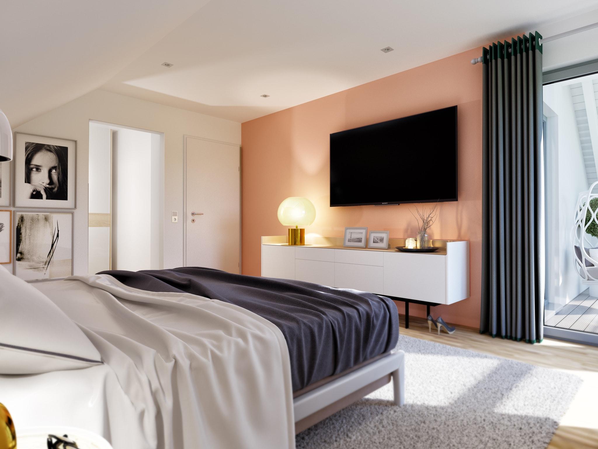 Schlafzimmer mit Dachschräge - Einfamilienhaus Inneneinrichtung Ideen modern Living Haus Fertighaus SUNSHINE 143 V5 - HausbauDirekt.de