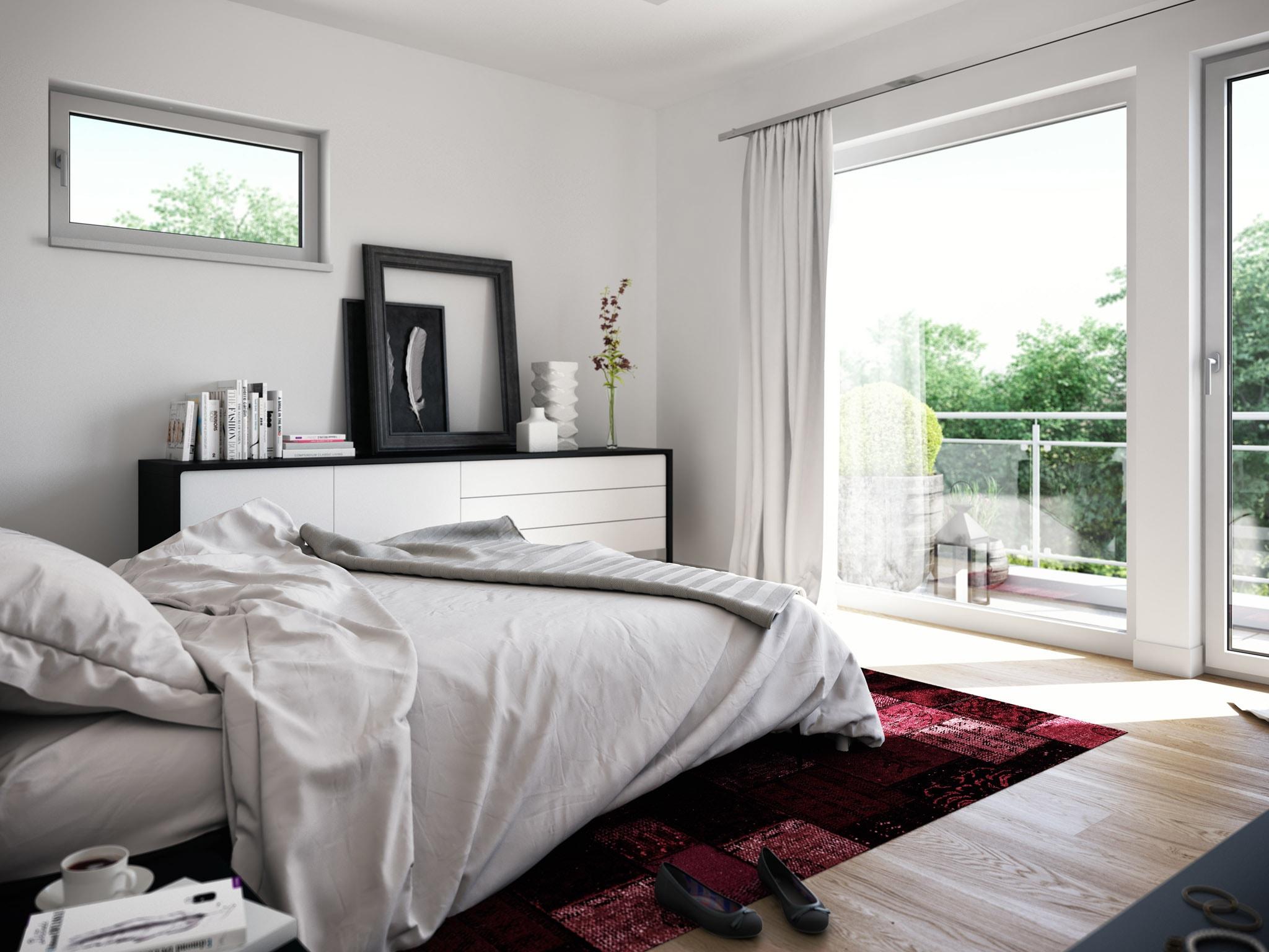 Schlafzimmer Ideen - Inneneinrichtung Stadtvilla Fertighaus Living Haus SUNSHINE 136 V7 - HausbauDirekt.de
