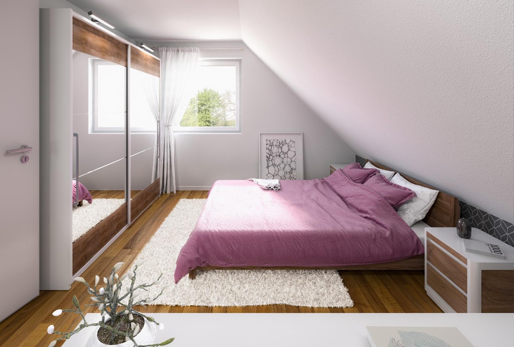 Schlafzimmer mit Dachschräge - Einfamilienhaus Inneneinrichtung Ideen Massivhaus Raumwunder 100 Süd von Town & Country Haus - HausbauDirekt.de