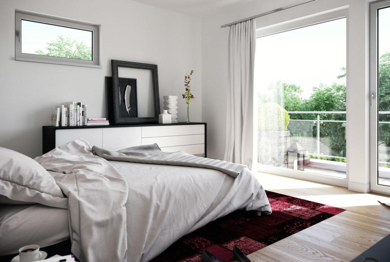 Schlafzimmer modern - Wohnideen Fertighaus Living Haus SUNSHINE 136 V4 - HausbauDirekt.de