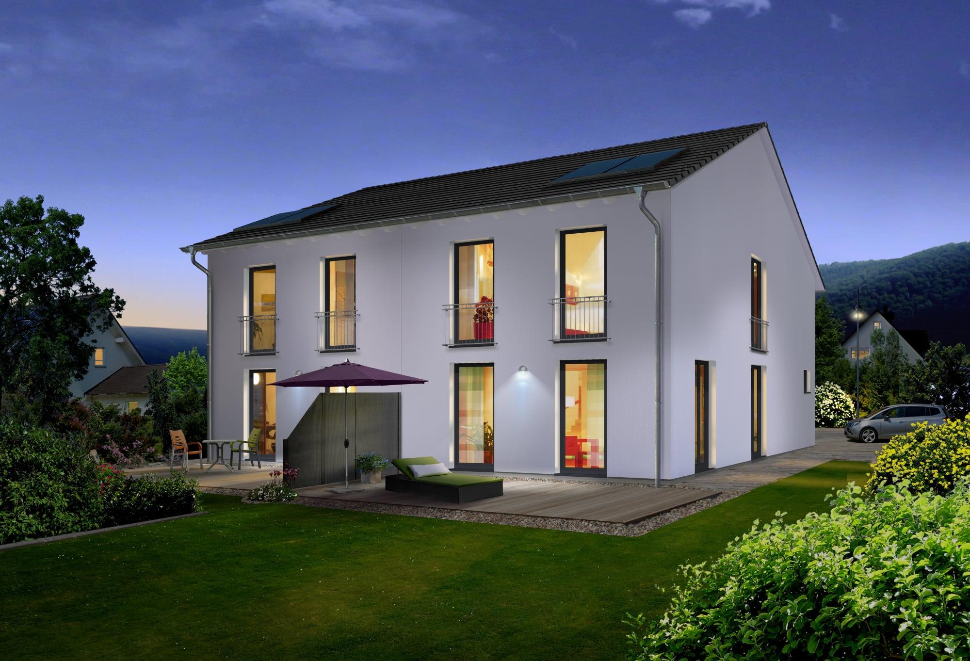 Schmales Doppelhaus modern mit Satteldach Architektur - Massivhaus schlüsselfertig bauen Ideen Town Country Haus Aura 125 Elgance - HausbauDirekt.de