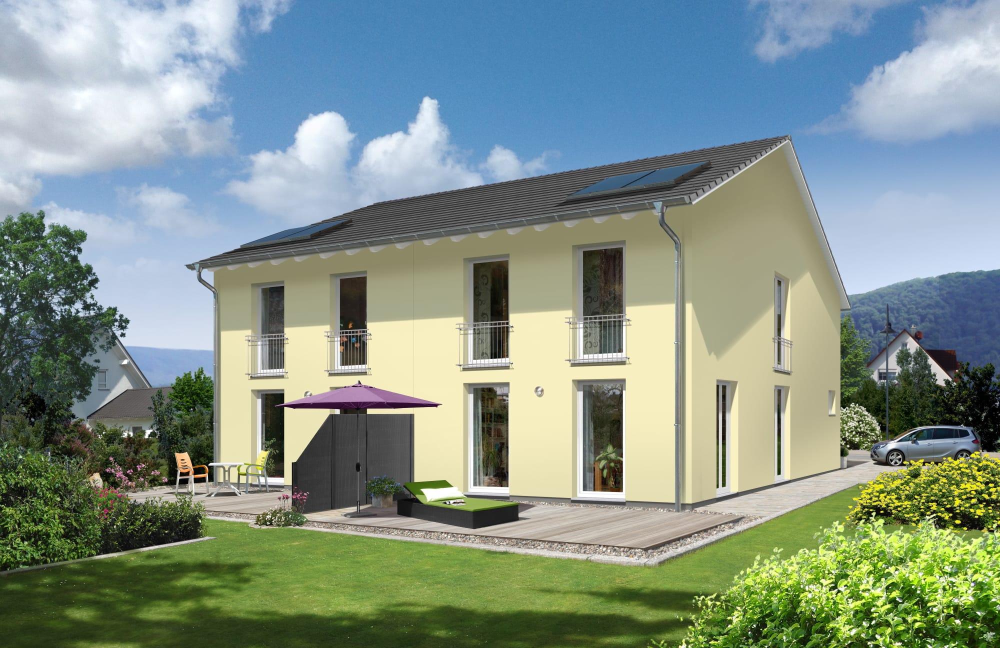Doppelhaus Neubau schmal mit Satteldach Architektur - Massivhaus bauen Ideen Town Country Haus Aura 125 Trend - HausbauDirekt.de