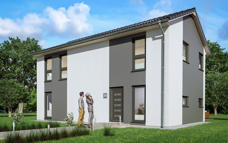 Schmales Haus mit Satteldach Architektur, 123 qm, 5 Zimmer - Fertighaus schlüsselfertig bauen Ideen ScanHaus Marlow Einfamilienhaus SH-127-S-Variante-A - HausbauDirekt.de