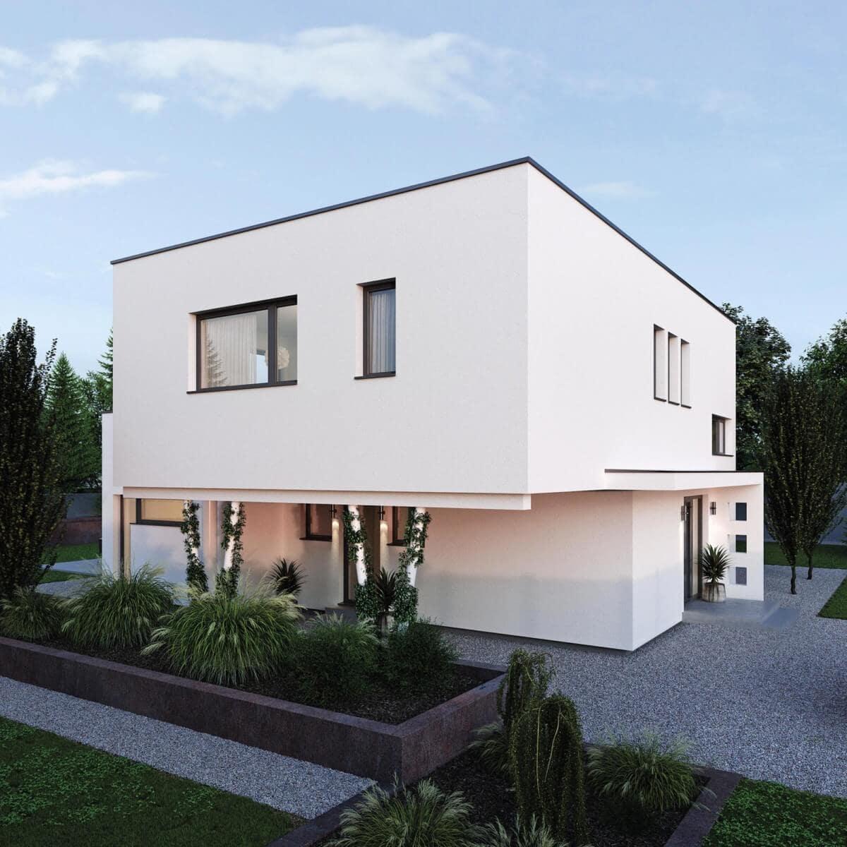 Stadtvilla modern mit Flachdach & integriertem Carport im Bauhausstil - Haus Design Ideen Fertighaus ELK Haus 164 - HausbauDirekt.de
