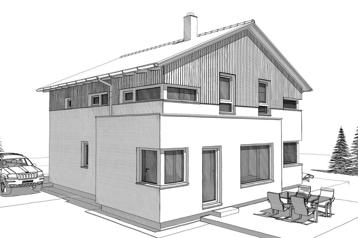 Fertighaus Stadtvilla modern mit Satteldach & Holz Putz Fassade - Einfamilienhaus bauen Ideen Architektur Zeichnung ELK Haus 161 - HausbauDirekt.de