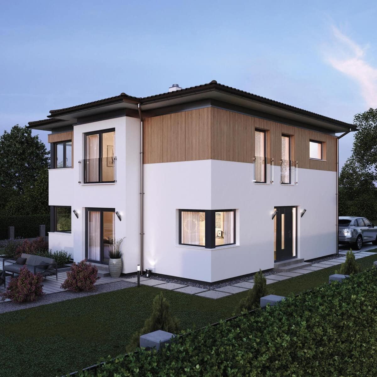 Fertighaus Stadtvilla Neubau modern mit Holz Putz Fassade & Walmdach - Einfamilienhaus bauen Ideen ELK Haus 161 - HausbauDirekt.de