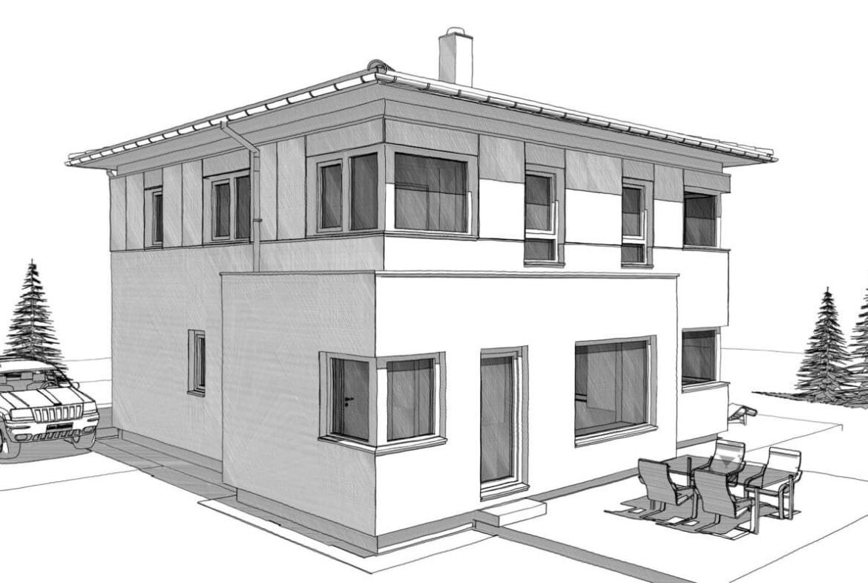 Fertighaus Stadtvilla modern mit Walmdach & Erker - Einfamilienhaus bauen Ideen Architektur Zeichnung ELK Haus 161 - HausbauDirekt.de