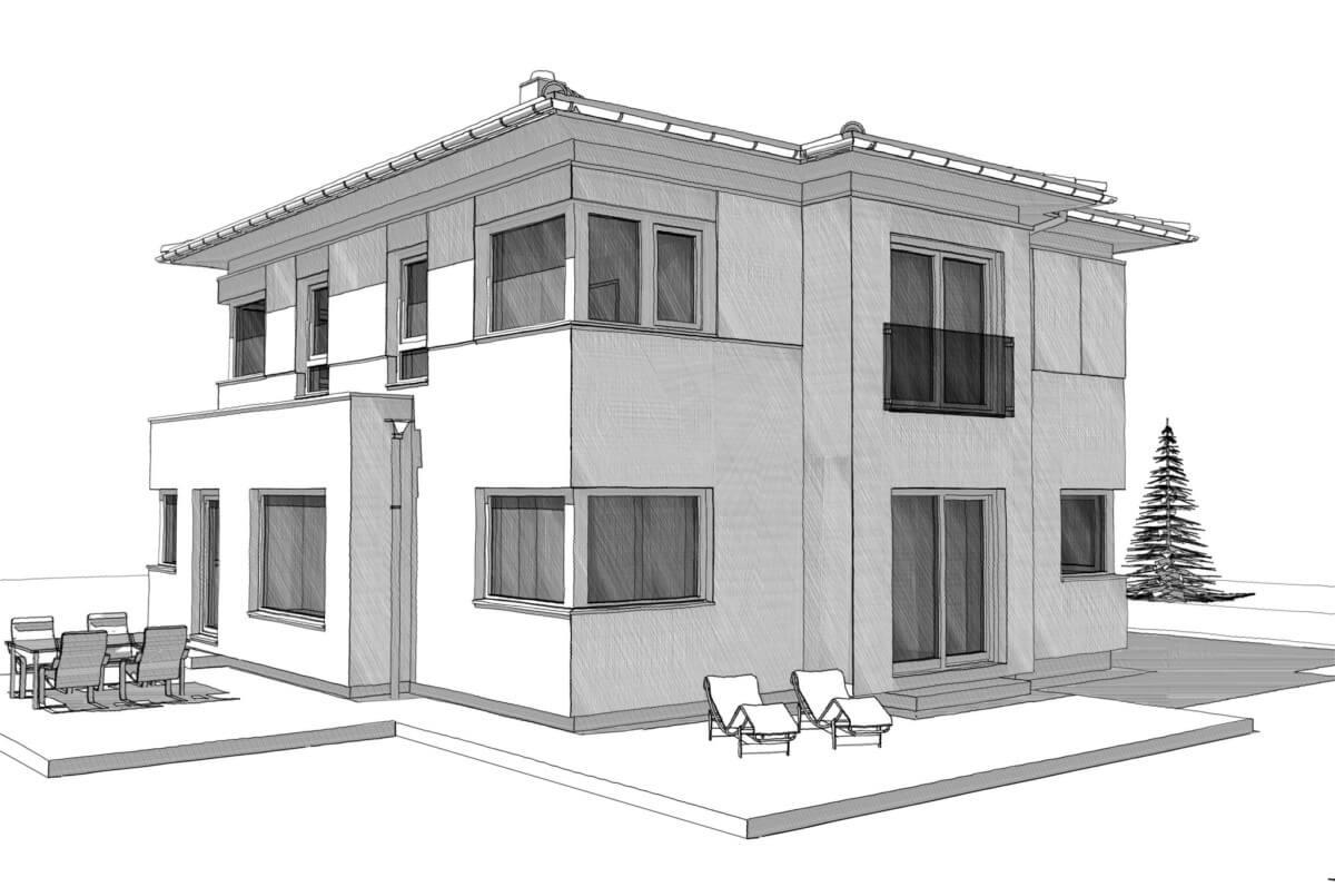 Fertighaus Stadtvilla modern mit Walmdach - Einfamilienhaus bauen Ideen Architektur Zeichnung ELK Haus 161 - HausbauDirekt.de