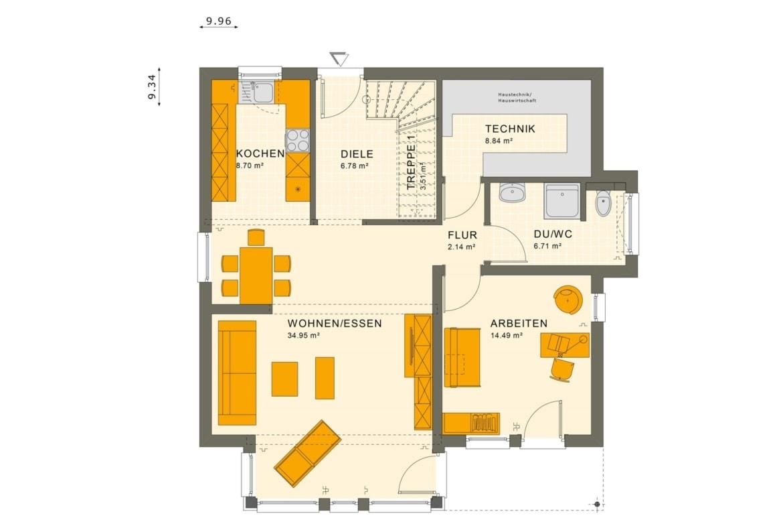 Grundriss Stadtvilla Erdgeschoss mit Erker, 5 Zimmer, 150 qm - Fertighaus Living Haus SUNSHINE 151 V8 - HausbauDirekt.de