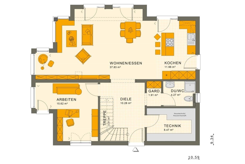 Stadtvilla Grundriss Erdgeschoss offen mit Erker, 5 Zimmer, 165 qm - Fertighaus SUNSHINE 165 V6 von Living Haus - HausbauDirekt.de