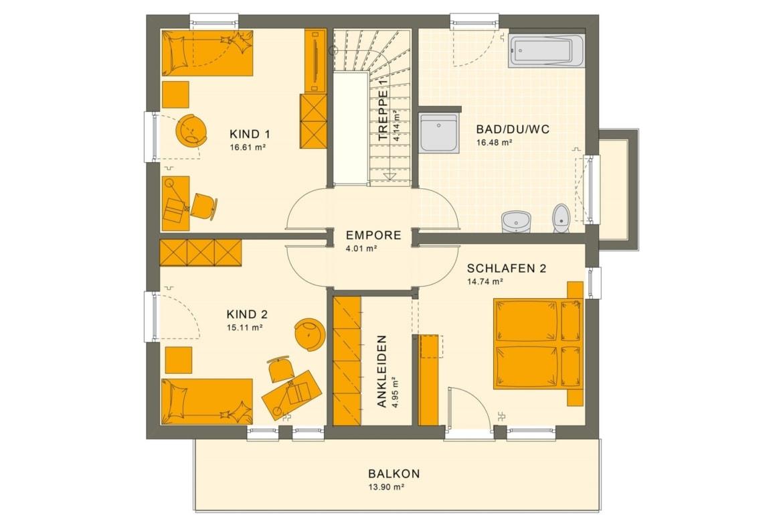Grundriss Stadtvilla Obergeschoss mit Flachdach & Balkon, 5 Zimmer, 150 qm - Fertighaus Living Haus SUNSHINE 151 V8 - HausbauDirekt.de