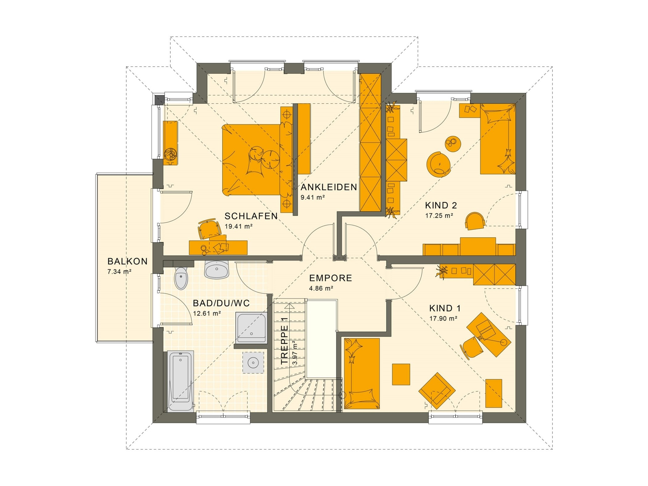 Stadtvilla Grundriss Obergeschoss mit Walmdach & Balkon, 5 Zimmer, 165 qm - Fertighaus SUNSHINE 165 V6 von Living Haus - HausbauDirekt.de