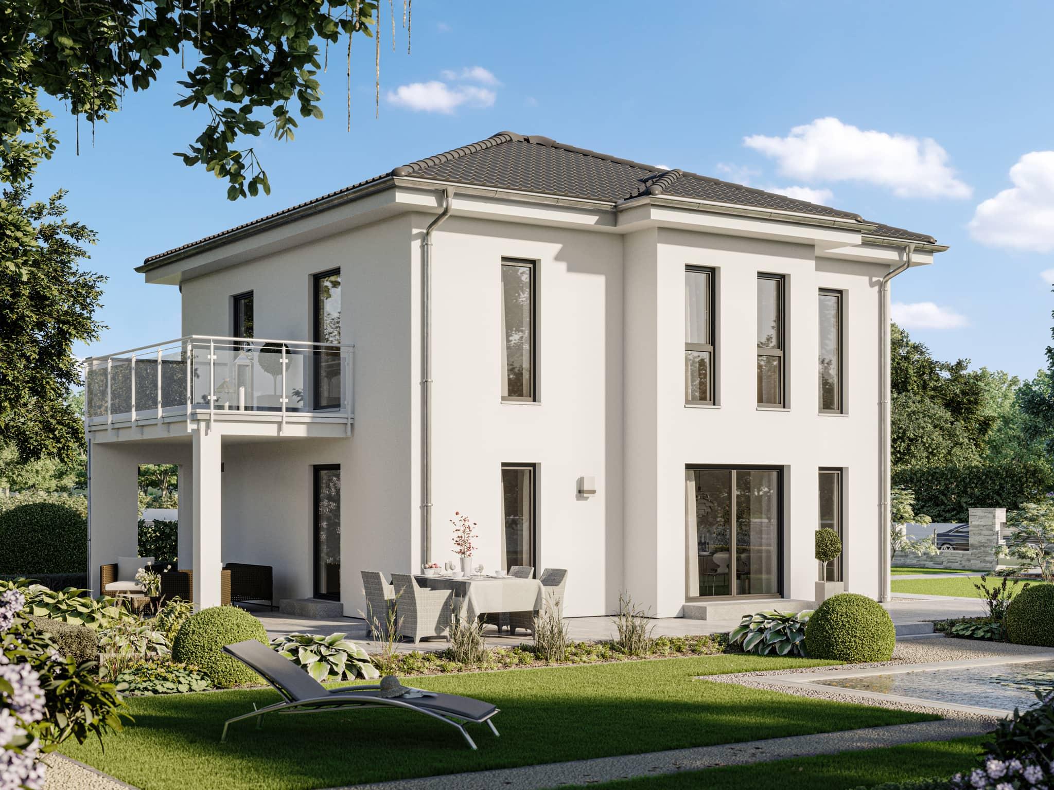 Neubau Stadtvilla mit Walmdach, Erker & Balkon, 5 Zimmer, 130 qm - Haus bauen Ideen Bien Zenker Fertighaus EDITION 134 V5 - HausbauDirekt.de