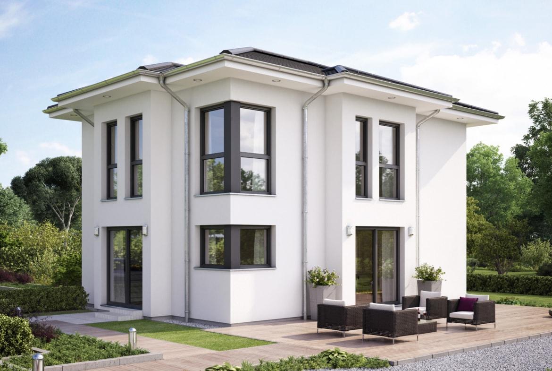 Fertighaus Stadtvilla Neubau modern mit Walmdach - Haus bauen Ideen Einfamilienhaus EVOLUTION 122 V9 von Bien Zenker - HausbauDirekt.de