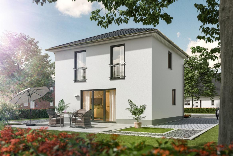 Stadtvilla modern mit Walmdach & Putz Fassade massiv bauen - Massivhaus Ideen STADTHAUS 100 Town & Country Haus - HausbauDirekt.de