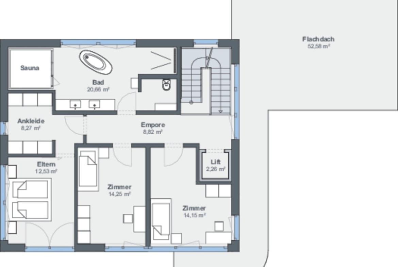 Grundriss Stadtvilla Obergeschoss mit Walmdach & Aufzug - Fertighaus bauen Ideen WeberHaus Stadtvilla Guenzburg - HausbauDirekt.de