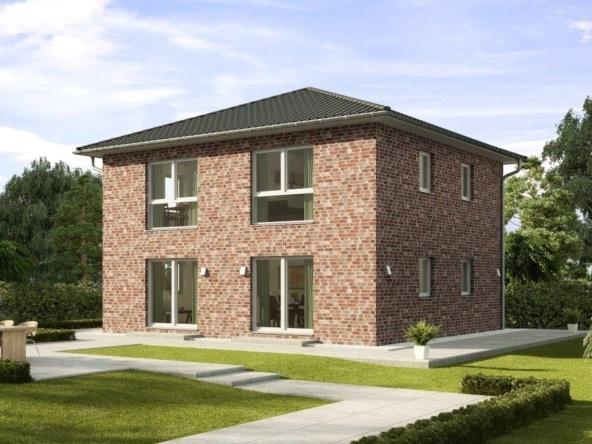 Stadtvilla Neubau modern mit Klinker Fassade & Zeltdach Architektur - Fertighaus Fulham von GUSSEK HAUS - HausbauDirekt.de