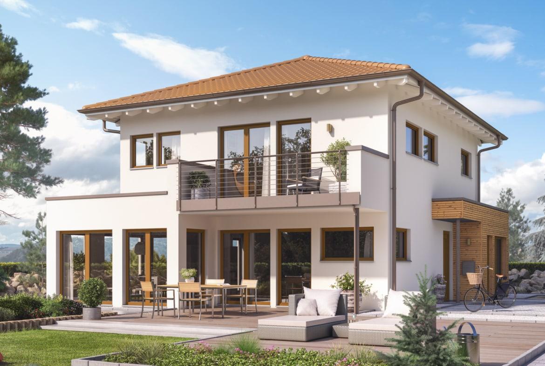 Einfamilienhaus Stadtvilla modern mit Walmdach, Erker & Balkon, 5 Zimmer, 140 qm - Fertighaus Living Haus SUNSHINE 144 V6 - HausbauDirekt.de