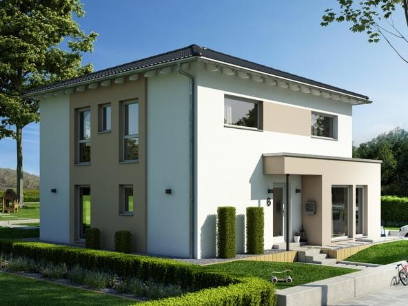Stadtvilla modern mit Walmdach & Erker, 5 Zimmer Grundriss, 150 qm - Fertighaus SUNSHINE 154 V6 von Living Haus - HausbauDirekt.de