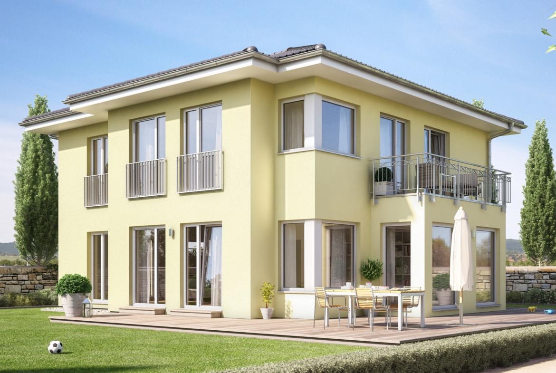 Moderne Stadtvilla mit Walmdach, Erker & Balkon, 5 Zimmer Grundriss, 165 qm - Fertighaus SUNSHINE 165 V6 von Living Haus - HausbauDirekt.de