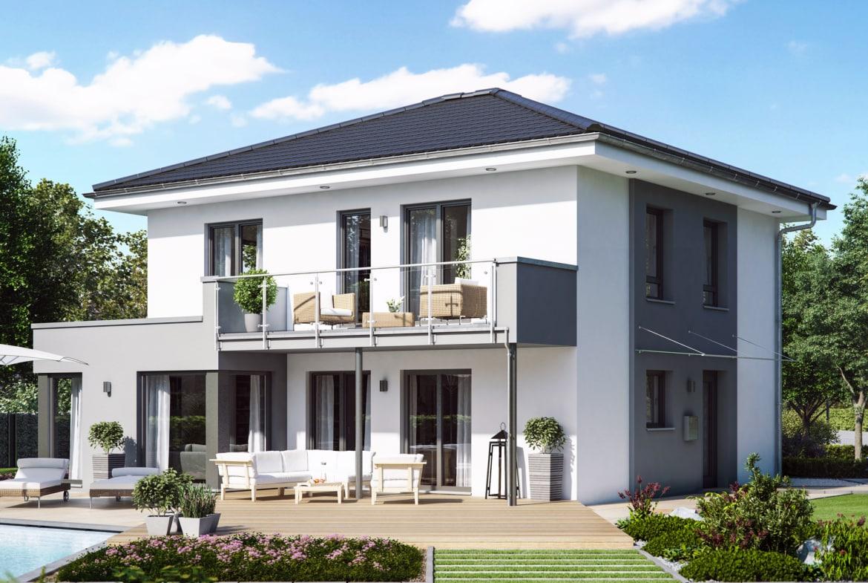 Stadtvilla modern mit Walmdach, 5 Zimmer, 145 qm - Fertighaus bauen Ideen Living Haus SUNSHINE 143 V6 - HausbauDirekt.de