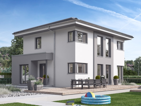 Stadtvilla modern mit Walmdach, 5 Zimmer, 125 qm - Fertighaus SUNSHINE 125 V6 von Living Haus - HausbauDirekt.de